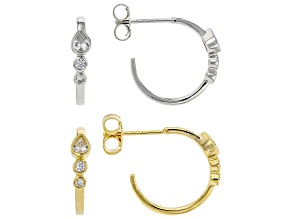 White Cubic Zirconia Rhodium Over Silver And 18k Yellow Gold Over Silver Earring Set