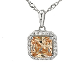 Champagne and White Cubic Zirconia Rhodium Over Silver Pendant With Chain. (2.44ctw DEW)