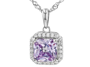 Purple and White Cubic Zirconia Rhodium Over Silver Pendant With Chain. (2.44ctw DEW)