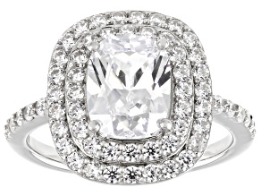 White Cubic Zirconia Rhodium Over Sterling Silver Ring 5.15ctw