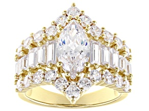 White Cubic Zirconia 18k Yellow Gold Over Sterling Silver Ring 6.96ctw