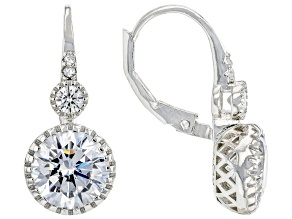 White Cubic Zirconia Rhodium Over Sterling Silver Earrings 6.92ctw