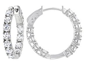 White Cubic Zirconia Platinum Over Sterling Silver Hoop Earrings 7.45ctw