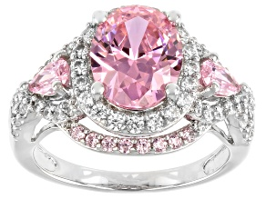 Pink And White Cubic Zirconia Rhodium Over Sterling Silver Ring 5.85ctw