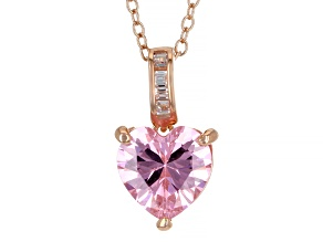 Pink And White Cubic Zirconia 18k Rose Gold Over Sterling Silver Pendant With Chain 3.02ctw
