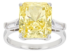 Yellow And White Cubic Zirconia Rhodium Over Sterling Silver Ring 12.02ctw