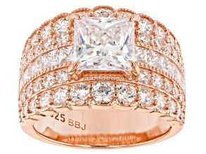 White Cubic Zirconia 18k Rose Gold Over Sterling Silver Ring 9.66ctw