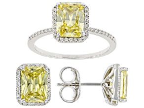 Canary And White Cubic Zirconia Rhodium Over Sterling Silver Ring 8.92ctw