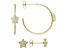 White Cubic Zirconia 18k Yellow Gold Over Sterling Silver Star Earring Set 0.81ctw