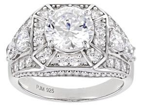 White Cubic Zirconia Platinum Over Sterling Silver Ring 5.48ctw