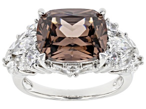 Mocha And White Cubic Zirconia Rhodium Over Sterling Silver Ring 13.65ctw