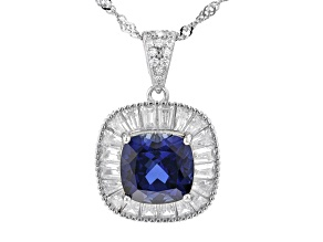 Blue Lab Sapphire and White Cubic Zirconia Rhodium Over Silver Pendant With Chain 4.09ctw