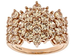 Champagne Cubic Zirconia 18k Rose Gold Over Sterling Silver Ring 5.10ctw