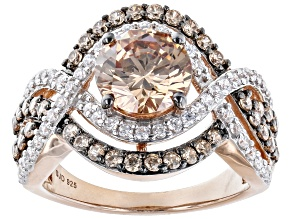 Champagne And White Cubic Zirconia 18k Rose Gold Over Sterling Silver Ring 5.00ctw