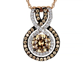 Champagne And White Cubic Zirconia 18k Rose Gold Over Sterling Silver Pendant With Chain 4.64ctw