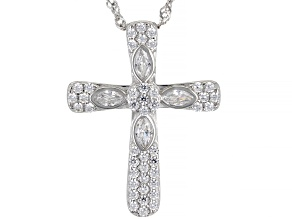 White Cubic Zirconia Rhodium Over Sterling Silver Pendant With Chain 1.15ctw