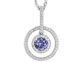 Lab Created Blue Sapphire And White Cubic Zirconia Rhodium Over Sterling Silver Necklace 1.35ctw