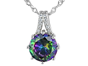 Multi Color And White Cubic Zirconia Rhodium Over Sterling Silver Pendant With Chain 6.57ctw