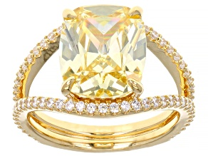 Yellow And White Cubic Zirconia 18k Yellow Gold Over Sterling Silver Ring 10.23ctw