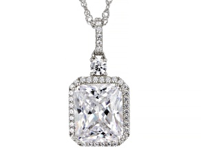 White Cubic Zirconia Platinum Over Sterling Silver Pendant With Chain 11.79ctw