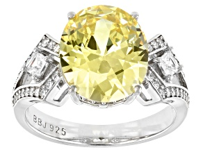 Yellow And White Cubic Zirconia Rhodium Over Sterling Silver Ring 8.87ctw
