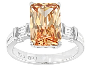 Champagne And White Cubic Zirconia Rhodium Over Sterling Silver Ring 7.68ctw