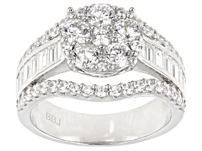 White Cubic Zirconia Rhodium Over Sterling Silver Ring 3.91ctw