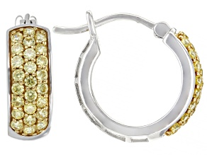 Yellow Cubic Zirconia Platinum Over Sterling Silver Hoops 1.40ctw