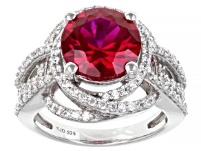 Lab Created Ruby And White Cubic Zirconia Platinum Over Sterling Silver Ring 5.96ctw