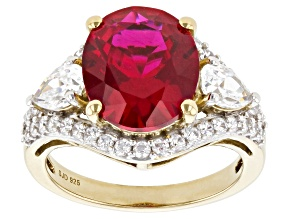 Lab Created Ruby And White Cubic Zirconia 18k Yellow Gold Over Sterling Silver Ring 7.38ctw