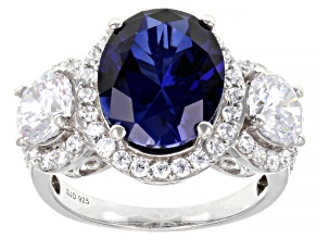Lab Created Blue Sapphire And White Cubic Zirconia Platinum Over Sterling Silver Ring 12.07ctw