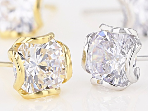 CUBIC ZIRCONIA RHODIUM OVER SILVER & 18K YELLOW GOLD OVER STERLING SILVER EARRING SET OF 2 11.88CTW