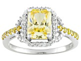 Yellow And White Cubic Zirconia Sterling Silver Ring 3.21ctw