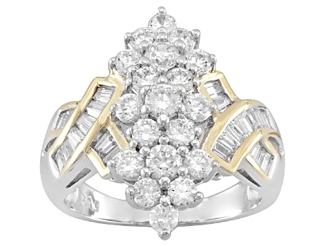 White Cubic Zirconia Sterling Silver & 18k Yellow Gold Over Sterling Silver Ring With Wraps 4.08ctw