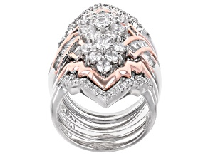 White Cubic Zirconia Sterling Silver & 18k Rose Gold Over Sterling Silver Ring With Wraps 4.08ctw