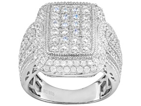 Bella Luce ® 4.25ctw Round Rhodium Over Sterling Silver Ring