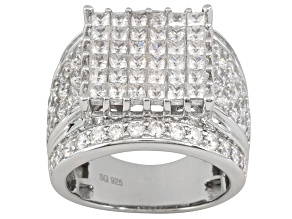 6.79ctw Princess Cut & Round Cubic Zirconia Rhodium Plated Sterling Silver Ring