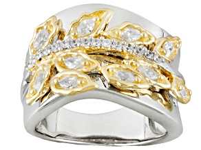 Bella Luce ® 1.05ctw Marquise & Round Sterling Silver & 18k Yellow Gold Over Sterling Silver Ring