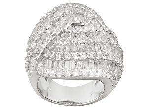 White Cubic Zirconia Sterling Silver Ring 19.04ctw