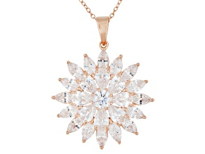 White Cubic Zirconia 18k Rose Gold Over Silver Pendant 13.19ctw