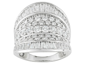 Rhodium Over Sterling Silver Cubic Zirconia Ring 5.60ctw