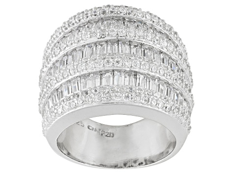 Bella Luce ® 7.35ctw Rhodium Over Sterling Silver Ring