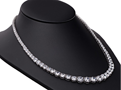 "Cubic Zirconia Round Rhodium Over Sterling Silver 18"" Graduated Necklace 76.86ctw"