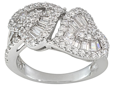 Bella Luce ® 1.66ctw White Diamond Simulant Rhodium Over Sterling Silver Heart Ring