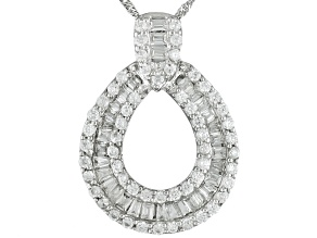BELLA LUCE ® 1.61CTW BAGUETTE AND ROUND, RHODIUM PLATED STERLING SILVER PENDANT WITH CHAIN