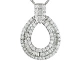 White Cubic Zirconia Rhodium Over Sterling Silver Pendant With Chain 1.61ctw