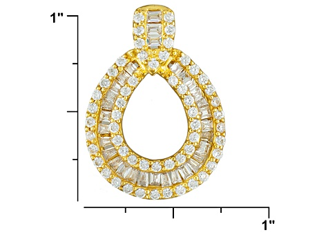 Bella Luce ® 1.61ctw Baguette And Round, 18k Yellow Gold Over Sterling Silver Pendant With Chain