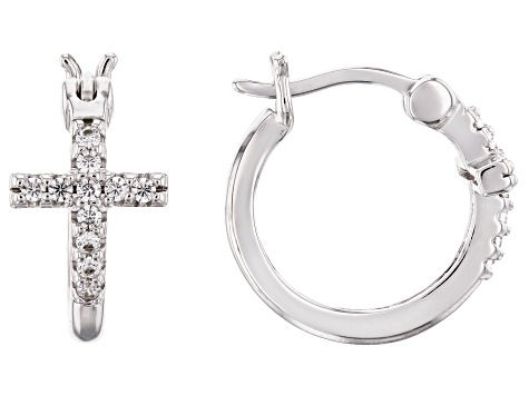 White Cubic Zirconia Rhodium Over Sterling Silver Cross Huggie Hoop Earrings 0.33ctw