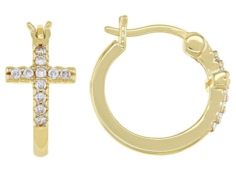 White Cubic Zirconia 18k Yellow Gold Over Sterling Silver Cross Huggie Hoop Earrings 33ctw
