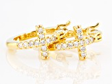 White Cubic Zirconia 18k Yellow Gold Over Sterling Silver Cross Huggie Hoop Earrings  .33ctw